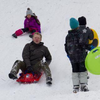 Toll gelegen und mit den öffentlichen Verkehrsmitteln sehr gut zu erreichen sind die Schlittenhügel auf der Theresienwiese. Vor allem die Kleinen können auf der kurzen und nicht sehr steilen Abfahrt alleine auf Schlitten oder Poporutscher ihren Mut beweisen. Für die Größeren gibt es noch einen steilen Hang, wo sich der ein oder andere sogar auf Skiern herunter wagt.