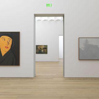 Innenansicht Museum Brandhorst mit Werken von Alex Katz und Eric Fischl