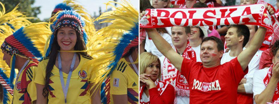 Kolumbianische und polnische Fans