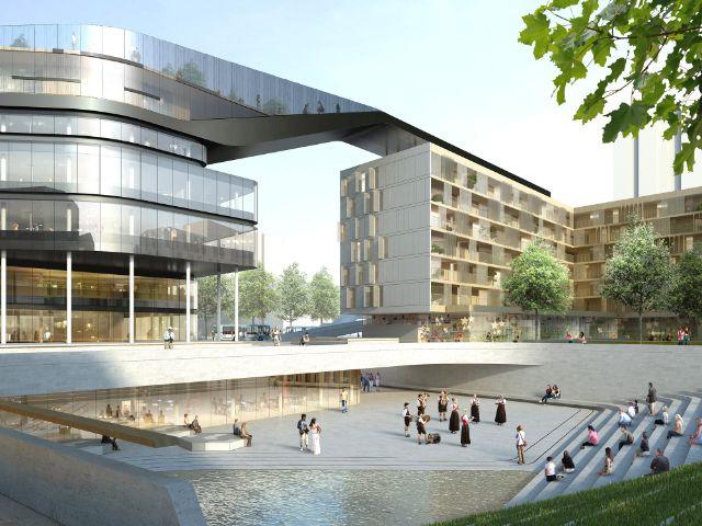 Visualisierung des Entwurfs von Delugan Meissl Associated Architects für die künftige Gestaltung am Hanns-Seidel-Platz in Neuperlach, Foto: on3studio