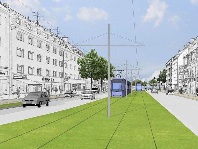 Visualisierung der Tram-Westtangente in der Fürstenrieder Straße, Foto: SWM / MVG