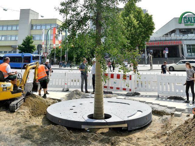 Bodenplatte für das Kunstwerk von Elke Härtel wurde verlegt, Foto: München/ Kulturreferat