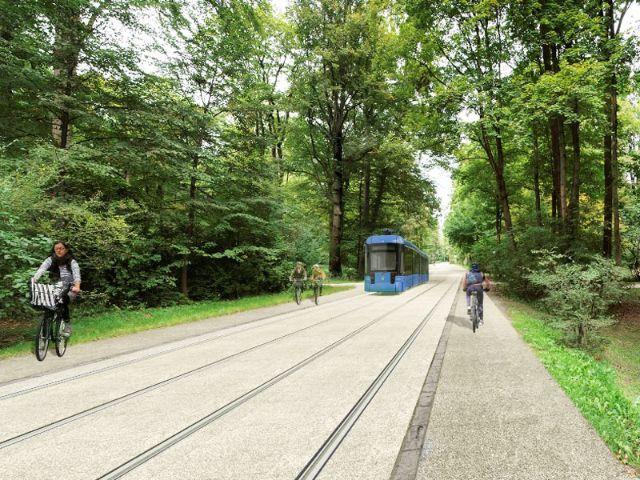 Visualisierung: So könnte die Tram durch den Englischen Garten aussehen, Foto: SWM/MVG