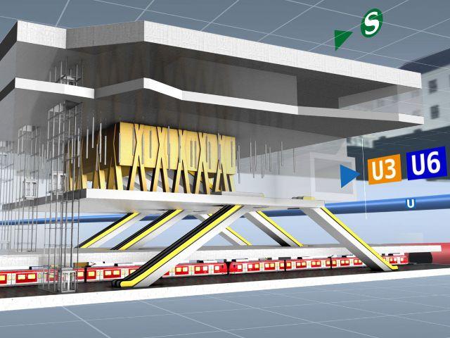 Simulation der Haltestelle Marienhof an der zweiten S-Bahn-Stammstrecke, Foto: Deutsche Bahn AG / Fritz Stoiber Productions GmbH