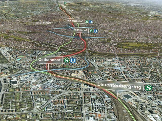 Verlauf der zweiten S-Bahn-Stammstrecke durch München, Foto: Deutsche Bahn AG / Fritz Stoiber Productions GmbH
