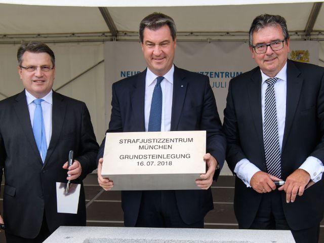 Grundsteinlegung für das neue Strafjustizzentrum, Foto: Bayerische Staatskanzlei
