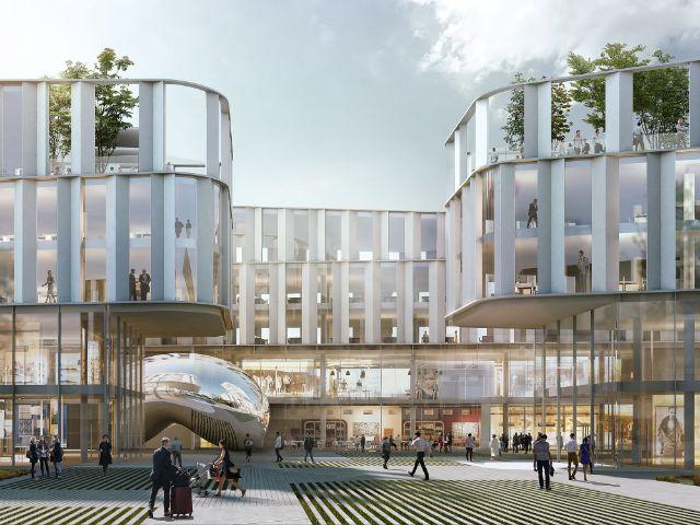 Visualisierung des Innenhofs des geplanten Büro- und Geschäftshauses im Werksviertel, Foto: Nieto Sobejano Arquitectos