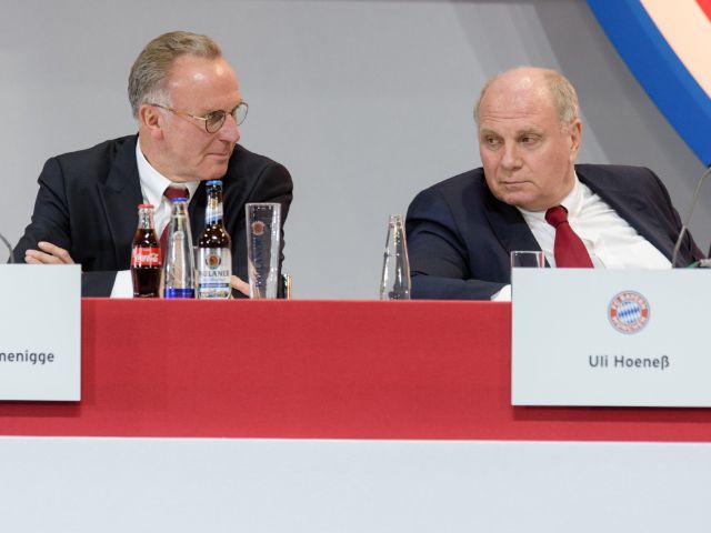 Gingen mit der Presse hart ins Gericht: FCB-Vorstandschef Karl-Heinz Rummenigge (l) und Präsident Uli Hoeneß, Foto: Matthias Balk