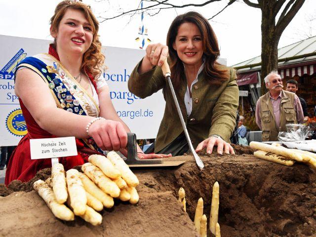 Eröffnung der Spargelsaison auf dem Viktualienmarkt mit Landwirtschaftsministerin Michaela Kaniber (r.), Foto: Baumgart/StMELF