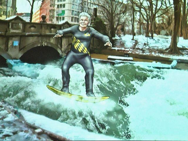 Musikvideo: OB Reiter als Surfer, Foto: muenchen.de/Immanuel Rahman
