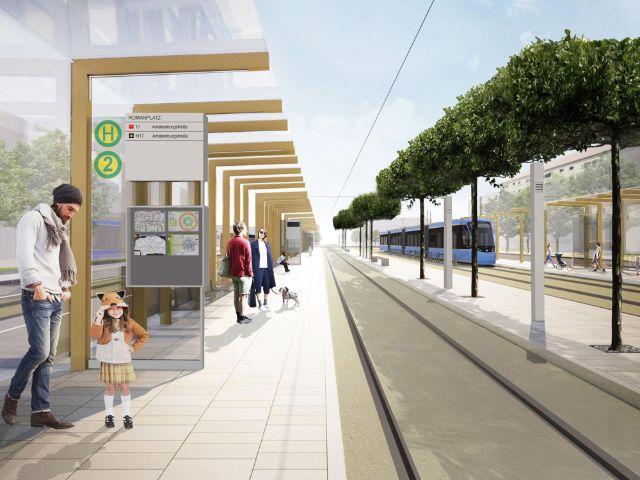 Umgestaltung Romanplatz - Simulation, Foto: SWM / MVG