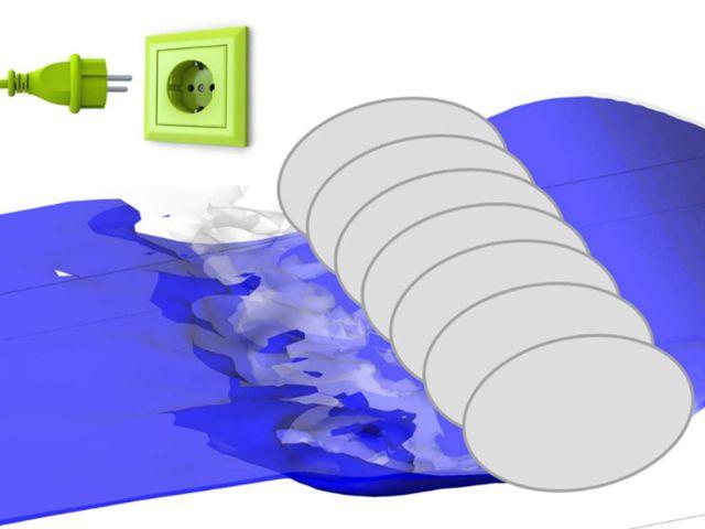 Visualisierung Surferwelle und Wasserkraftwerk, Foto: Robert Meier-Staude, 7/2015