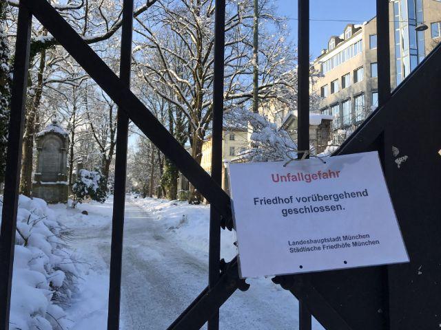 Friedhof gesperrt wegen Schnee, Foto: muenchen.de
