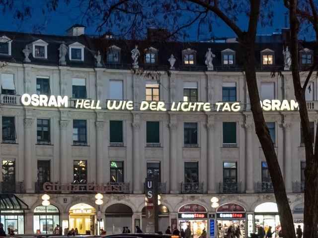 Leuchtreklame von Osram am Stachus, Foto: muenchen.de/Michael Hofmann