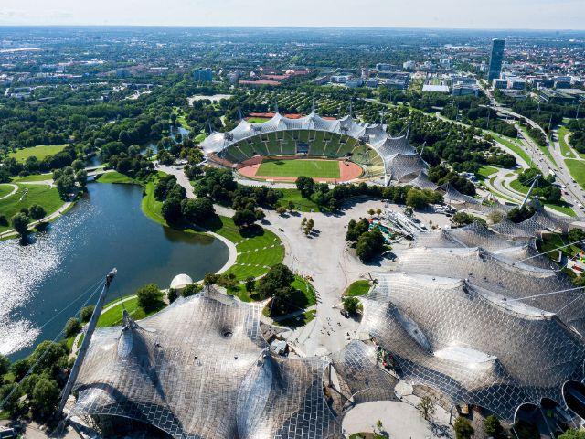 Der Olympiapark von oben, Foto: Olympiapark München GmbH