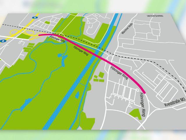 Karte zum Ausbau des Föhringer Rings, Foto: Staatliches Bauamt Freising