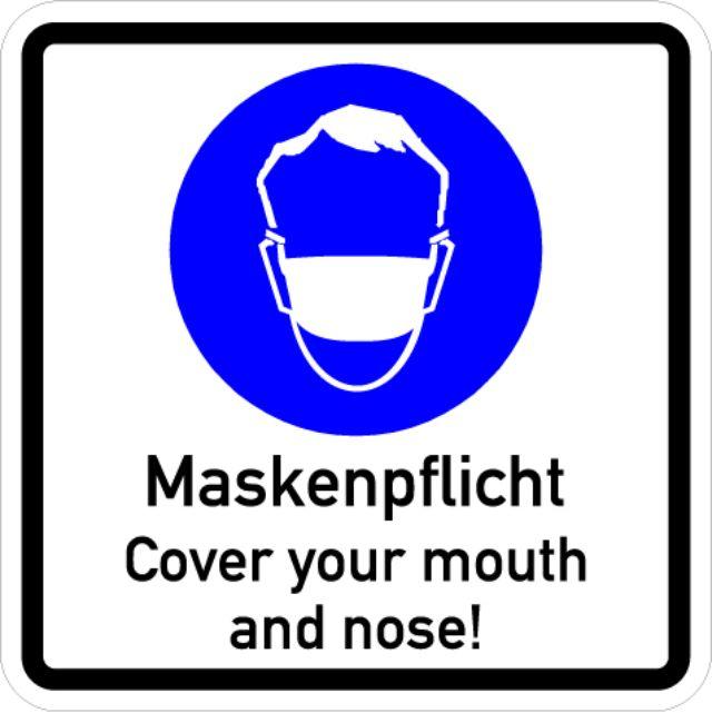 Hinweisschild zur Maskenpflicht in der Münchner Innenstadt