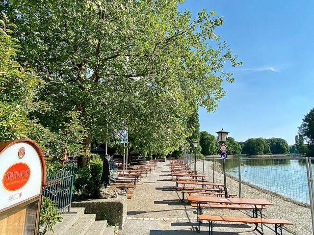 Biergarten vom Seehaus im Englischen Garten im Mai 2020, Foto: Gunnar Jans