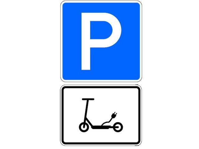 Schild für E-Scooter-Parkfläche, Foto: Rathaus Umschau