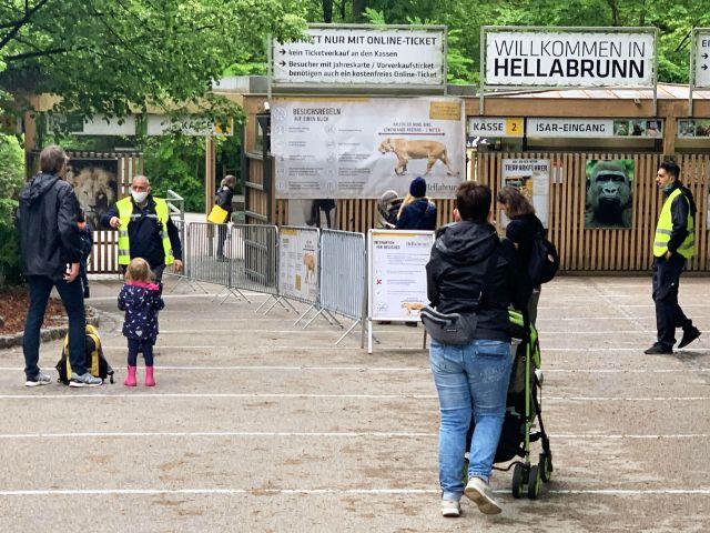 Einlass am Tierpark Hellabrunn in Corona-Zeiten, Foto: Tierpark Hellabrunn