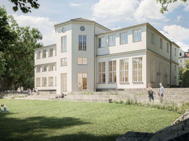 Visualisierung: Der Garten des Alpinen Museums mit Terrasse nach dem Umbau, Foto: Feil Architekten, Regensburg