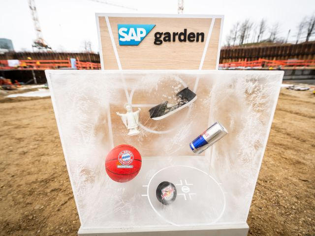 Der Grundstein des SAP Garden im Olympiapark, Foto: SAP Garden