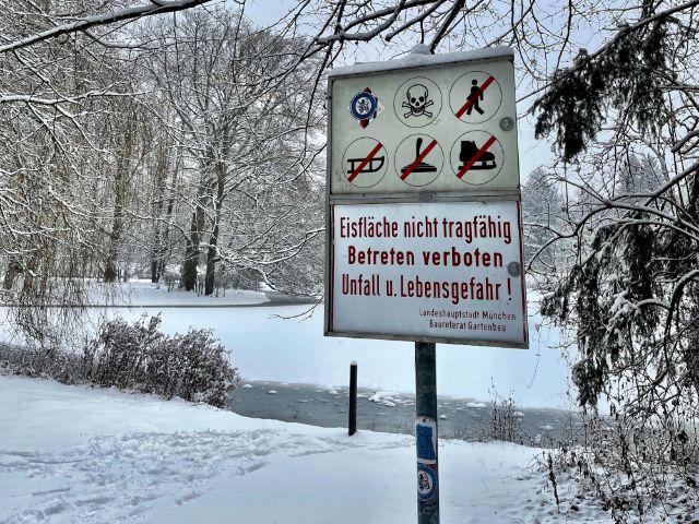 Warnschild Hinterbühler See, Foto: Gunnar Jans