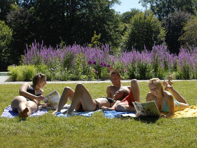 Liegewiese im Naturbad Maria Einsiedel, Foto: SWM / Denise Krejci