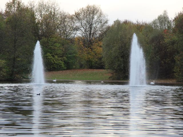 Fontänen der Springbrunnen im See des Ostparks, Foto: Christian Brunner
