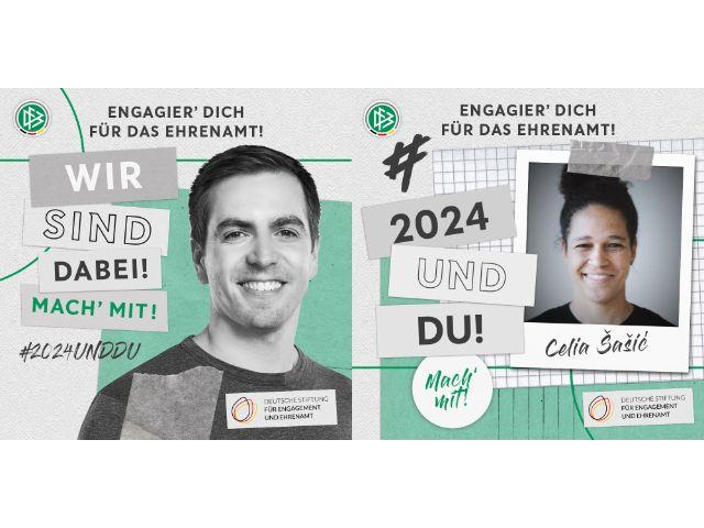 Philipp Lahm und Celia Šašić sind die Gesichter der UEFA EURO 2024 in Deutschland., Foto: DFB