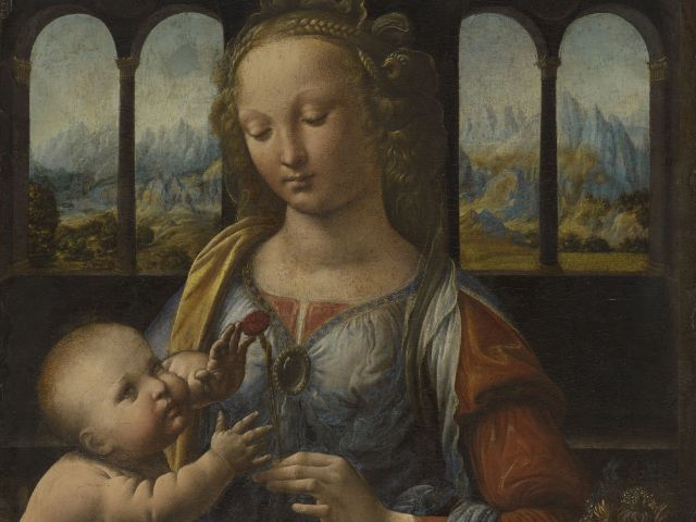 Leonardo da Vinci, Madonna mit der Nelke, um 1475, Foto: Bayerische Staatsemäldesammlungen, Alte Pinakothek, München