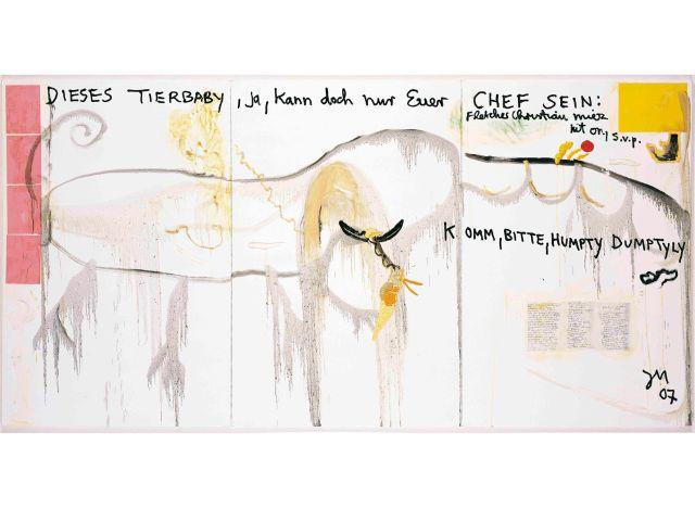 Jonathan Meese, DAS GEHEIMWASSER DES WILLIAM BLIGH, 2007 Öl auf Leinwand, Mixed Media, 3-teilig, 210 x 420 x 2,4 cm, Foto: Jochen Littkemann