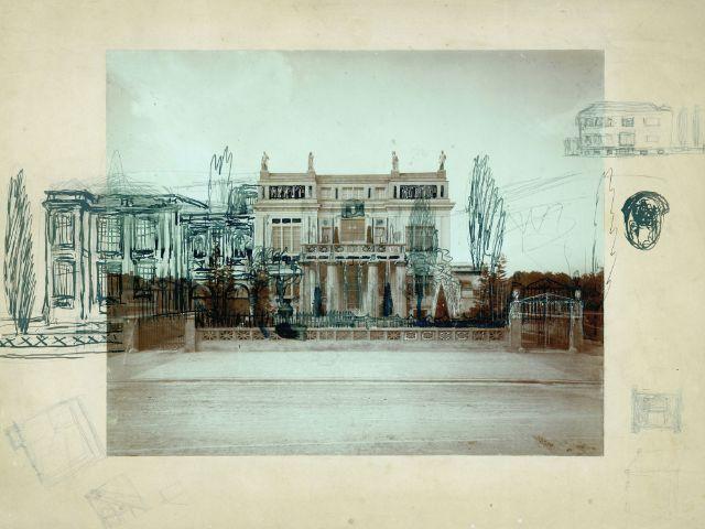 Fotografie der Villa Stuck um 1898 mit Entwurf des Neuen Ateliers, Foto: Museum Villa Stuck