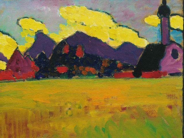 Landschaft bei Murnau (Gelbe Abendwolken), um 1910, Öl auf Karton, 33,2 × 41,2 cm, Hilti Art Foundation, Schaan, Liechtenstein, Foto: Lenbachhaus