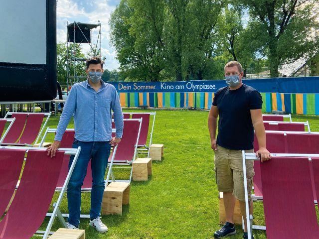 Die Veranstalter von Kino am Olympiasee, Patrick Diesing und Felix Lechner, Foto: Kino am Olympiasee