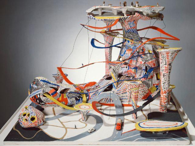 """Architekturmodell SPUR-BAU aus der Ausstellung """"Radio-Aktiv"""" im Lenbachhaus, Foto: VG Bild-Kunst, Bonn 2019 for Lothar Fischer, Heimrad Prem, Helmut Sturm, HP Zimmer"""