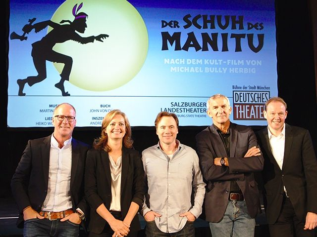 Pressekonferenz 19. September 2019 im Silbersaal: v.l.n.r. Oliver Banasch (Stage Entertainment), Carmen Bayer (DT), Bully, Werner Steer (DT), Carl Philip von Maldeghem (Indendant, Salzburger Landestheater), Foto: Deutsches Theater
