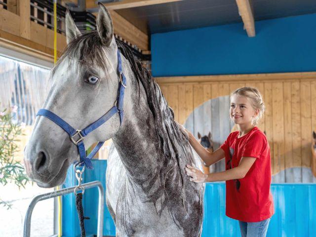 Mädchen striegelt Pferd im Pferdespa im Cavalluna Park, Foto: Cavalluna Park