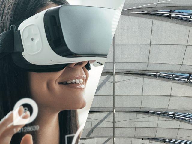 Frau mit Virtual Reality Brille, Foto: Flughafen München