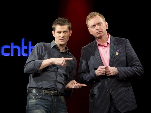 Die Schlachthof-Moderatoren Michael Altinger und Christian Springer., Foto: BR/Martina Bogdahn