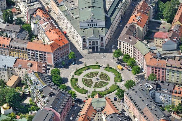 Das Gärtnerplatztheater aus der Luft, Foto: Anton Brandl