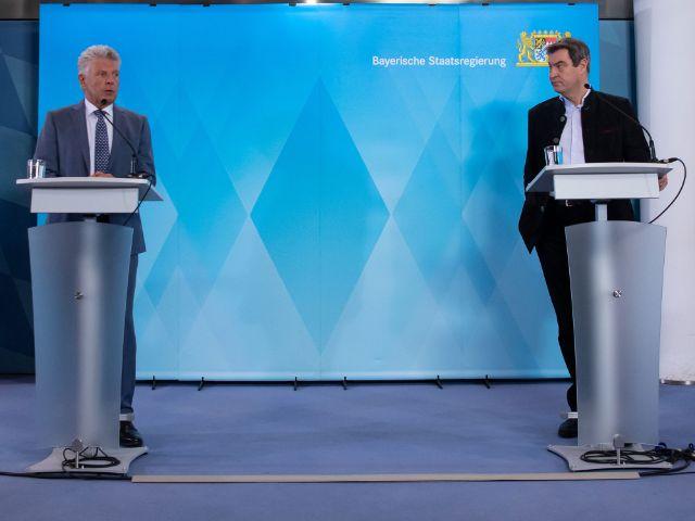 OB Dieter Reiter und Ministerpräsident Markus Söder verkünden das Aus für die Wiesn 2020, Foto: picture alliance/Sven Hoppe/dpa