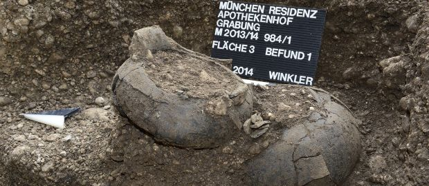 Fundstücke der Grabungen in der Münchner Residenz., Foto: Bayerisches Landesamt für Denkmalpflege