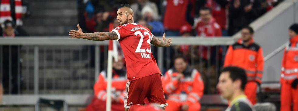 Vidal jubelt über seinen Treffer zum 1:0., Foto: dpa