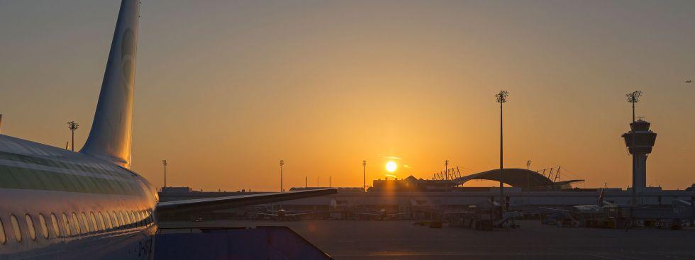 Sonnenaufgang Flughafen München