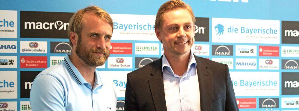 Daniel Bierofka und Markus Fauser vom TSV 1860., Foto: muenchen.de/Rico Güttich