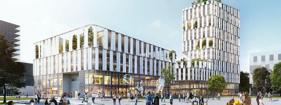 Visualisierung des geplanten Geschäfts- und Bürohauses im Werksviertel, Foto: Nieto Sobejano Arquitectos