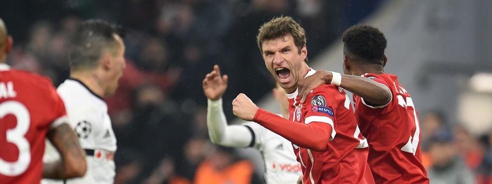 Thomas Müller jubelt über seinen Treffer zum 1:0., Foto: picture alliance / abaca