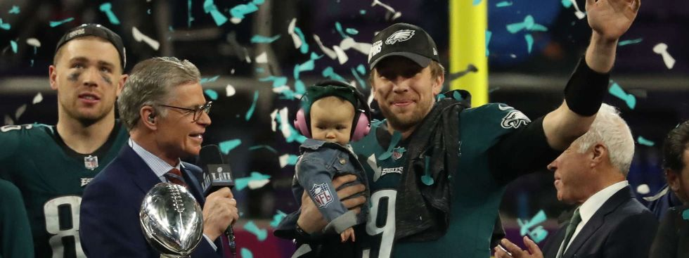 Nick Foles nach dem Super-Bowl-Sieg, Foto: picture alliance / newscom