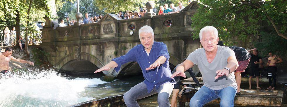 Udo Wachtveitl und Miroslav Nemec beim Dreh für den Münchner Tatort am Eisbach, Foto: muenchen.de / Dan Vauelle